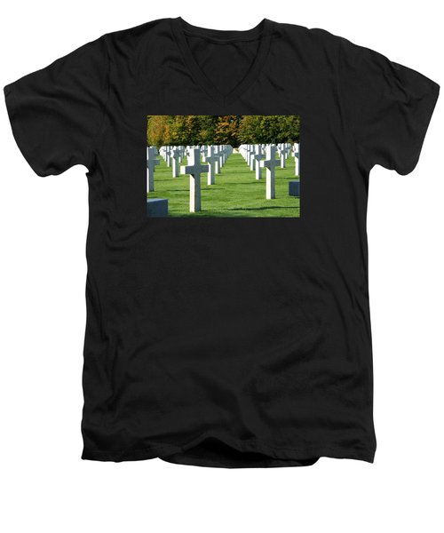 Men's V-Neck T-Shirt featuring the photograph Saint Mihiel American Cemetery by Travel Pics