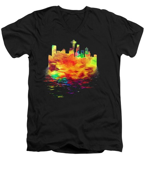 Seattle Skyline, Orange Tones On Black Men's V-Neck T-Shirt by Pamela Saville