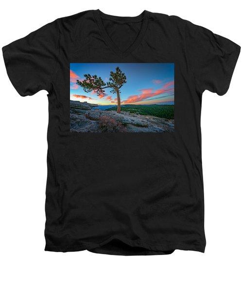 Sentinel Dawn Men's V-Neck T-Shirt by Rick Berk