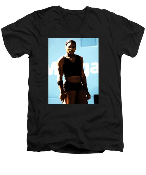 Serena Williams Match Point IIi Men's V-Neck T-Shirt by Brian Reaves