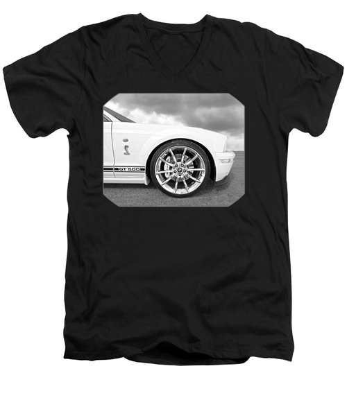 Shelby Gt500 Wheel Black And White Men's V-Neck T-Shirt by Gill Billington