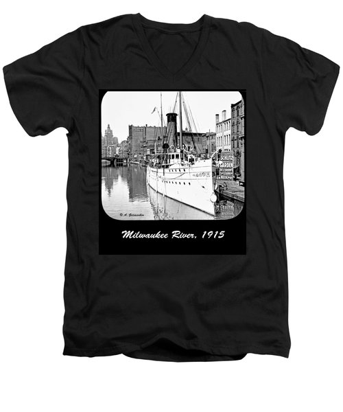 Men's V-Neck T-Shirt featuring the photograph Ship In Milwaukee River C 1915 by A Gurmankin