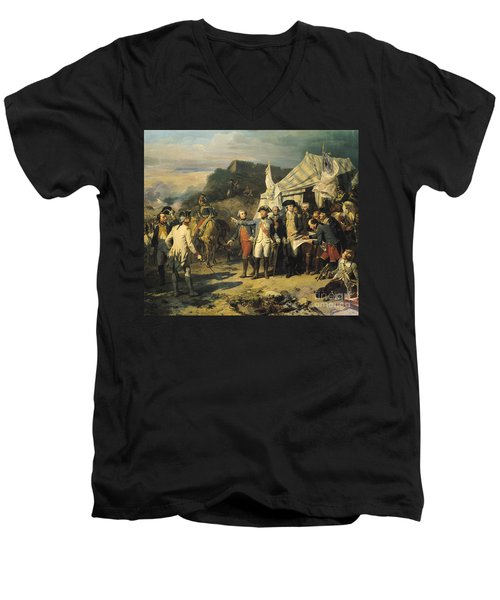 Siege Of Yorktown Men's V-Neck T-Shirt by Louis Charles Auguste  Couder