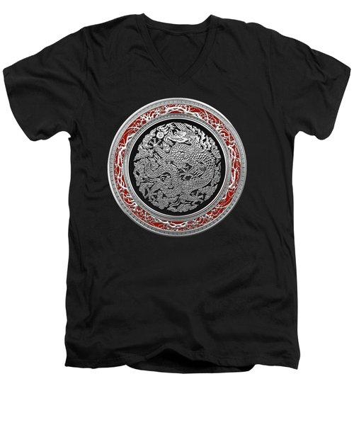 Sliver Chinese Dragon On Black Velvet Men's V-Neck T-Shirt by Serge Averbukh