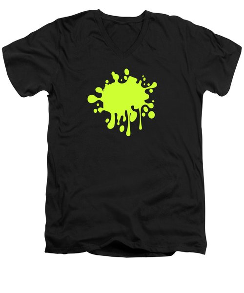 Solid Electric Lime Color Men's V-Neck T-Shirt by Garaga Designs