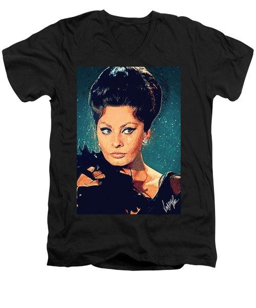Sophia Loren Men's V-Neck T-Shirt by Taylan Soyturk