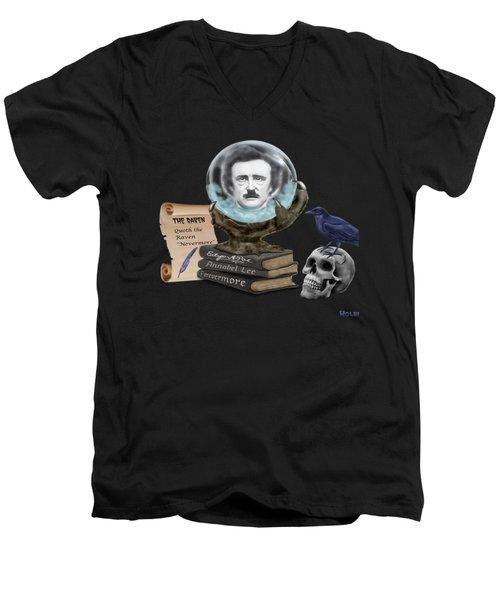 Spirit Of Edgar A. Poe Men's V-Neck T-Shirt by Glenn Holbrook