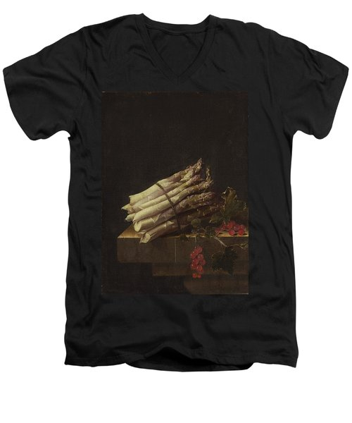 Still Life With Asparagus And Red Currants Men's V-Neck T-Shirt by Adriaen Coorte