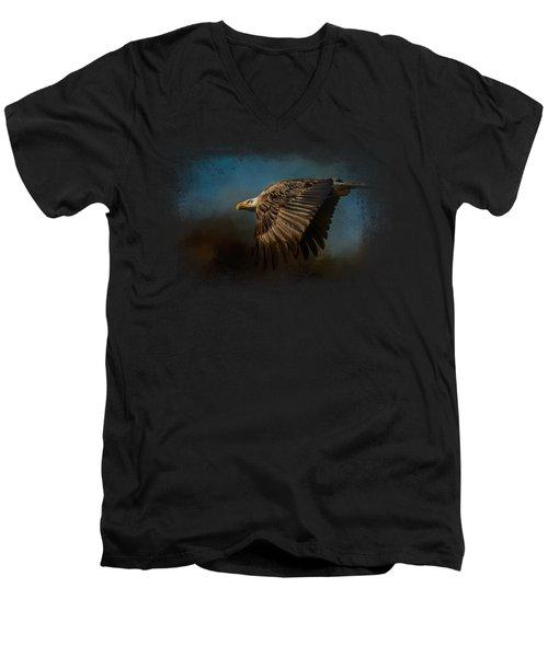 Storm Chaser - Bald Eagle Men's V-Neck T-Shirt by Jai Johnson