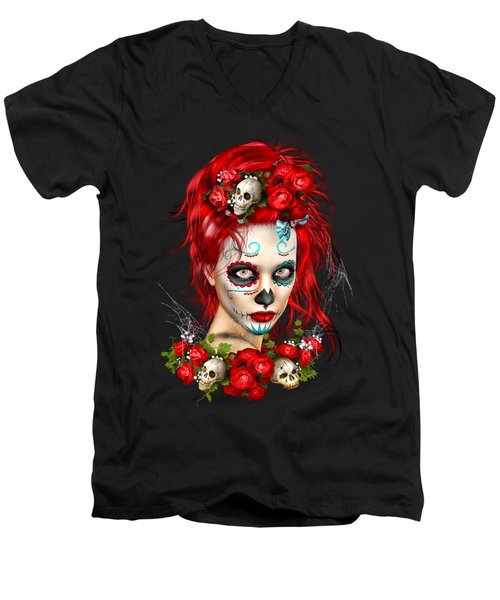 Sugar Doll Red Men's V-Neck T-Shirt by Shanina Conway