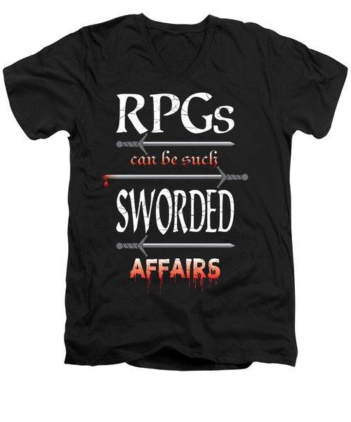 Sworded Affairs Men's V-Neck T-Shirt by Jon Munson II