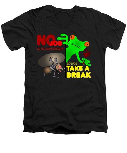 Take A Break Men's V-Neck T-Shirt by Felikss Veilands