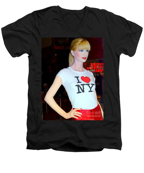 Taylor In Times Square Men's V-Neck T-Shirt by Ed Weidman