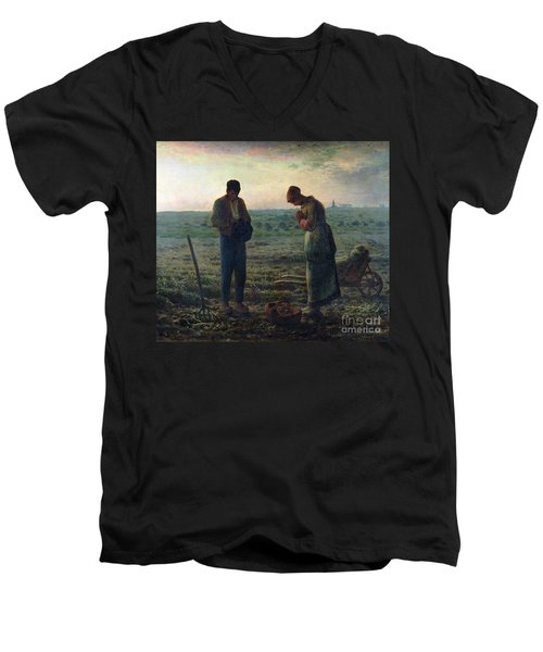 The Angelus Men's V-Neck T-Shirt by Jean-Francois Millet