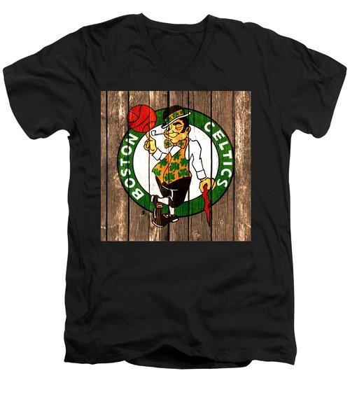 The Boston Celtics 2a Men's V-Neck T-Shirt by Brian Reaves