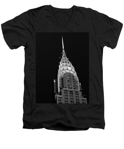 The Chrysler Building Men's V-Neck T-Shirt by Vivienne Gucwa