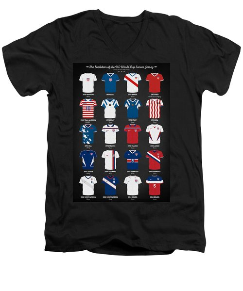 The Evolution Of The Us World Cup Soccer Jersey Men's V-Neck T-Shirt by Taylan Apukovska