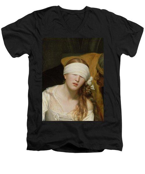 The Execution Of Lady Jane Grey Men's V-Neck T-Shirt by Hippolyte Delaroche