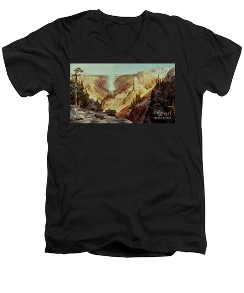 The Grand Canyon Of The Yellowstone Men's V-Neck T-Shirt by Thomas Moran