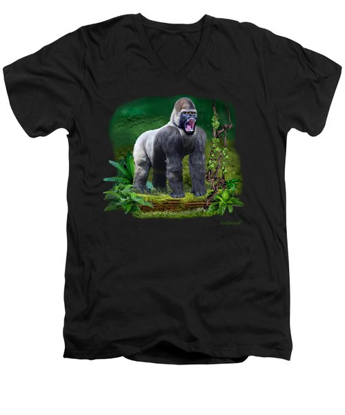 The Guardian Of The Rain Forest Men's V-Neck T-Shirt by Glenn Holbrook