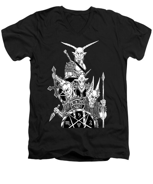 The Infernal Army Black Version Men's V-Neck T-Shirt by Alaric Barca