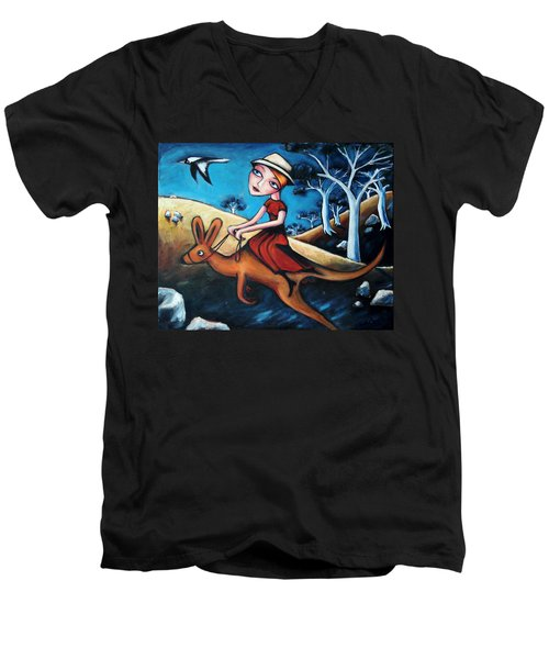 The Journey Woman Men's V-Neck T-Shirt by Leanne Wilkes