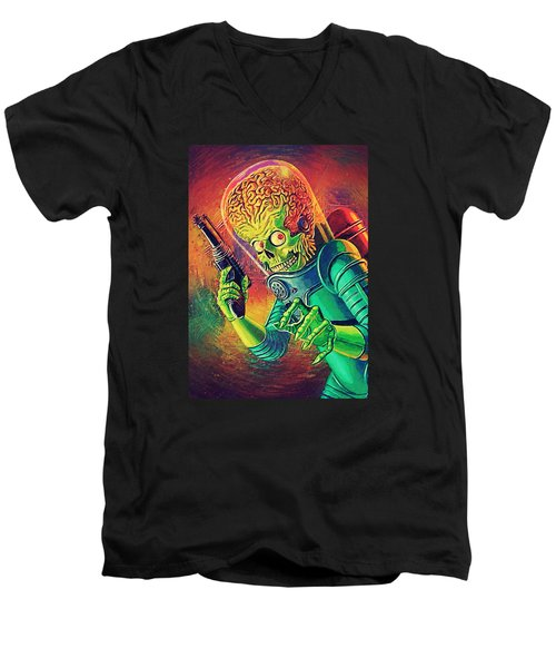 The Martian - Mars Attacks Men's V-Neck T-Shirt by Taylan Apukovska
