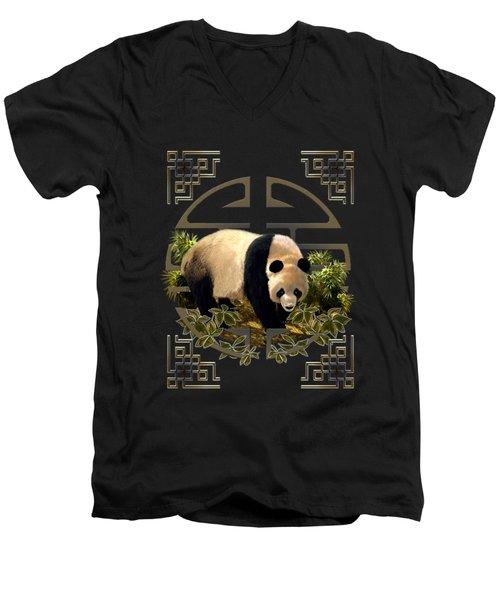 The Panda Bear And The Great Wall Of China Men's V-Neck T-Shirt by Regina Femrite