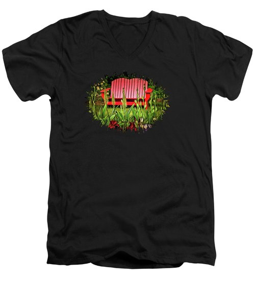 The Red Garden Bench Men's V-Neck T-Shirt by Thom Zehrfeld