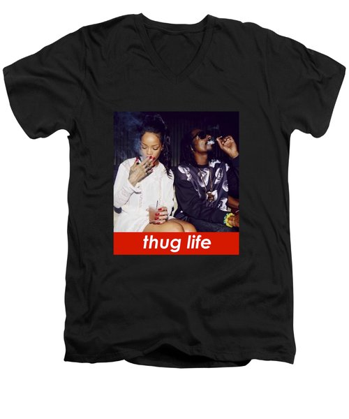 Thug Life Men's V-Neck T-Shirt by Bruna Bottin