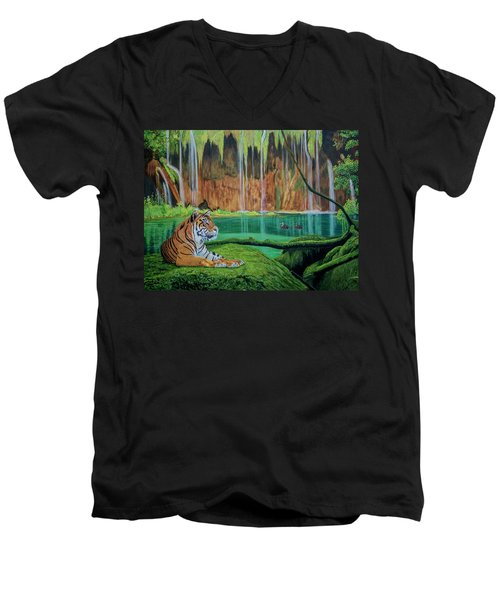 Tiger At The Waterfall  Men's V-Neck T-Shirt by Manuel Lopez