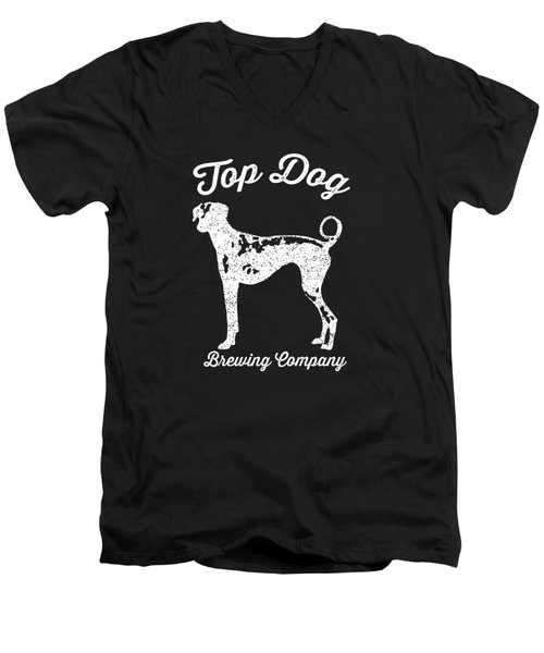 Top Dog Brewing Company Tee White Ink Men's V-Neck T-Shirt by Edward Fielding