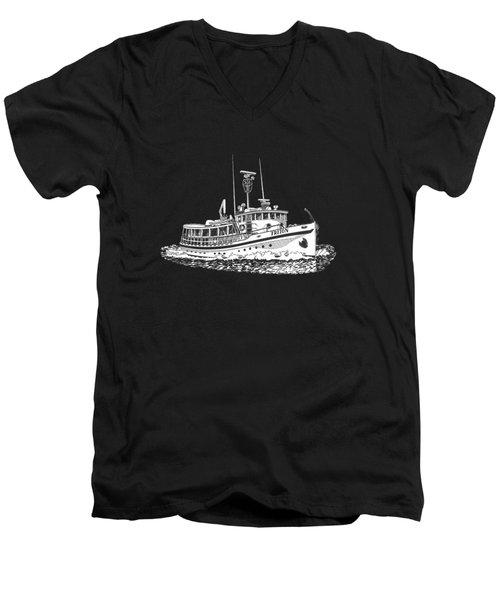 Triton 88 Foot Fantail Yacht Men's V-Neck T-Shirt by Jack Pumphrey