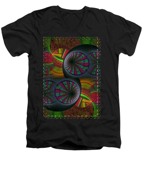 Tunneling Abstract Fractal Men's V-Neck T-Shirt by Sharon and Renee Lozen