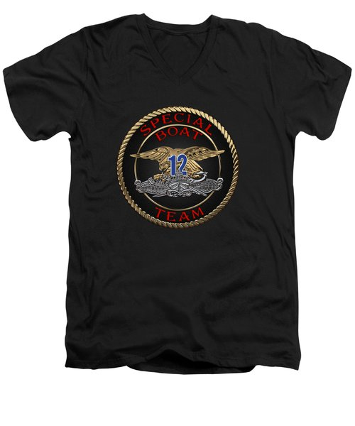 U. S. Navy S W C C - Special Boat Team 12   -  S B T 12  Patch Over Black Velvet Men's V-Neck T-Shirt by Serge Averbukh