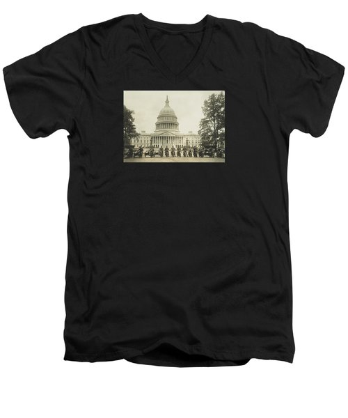 Vintage Motorcycle Police - Washington Dc  Men's V-Neck T-Shirt by War Is Hell Store