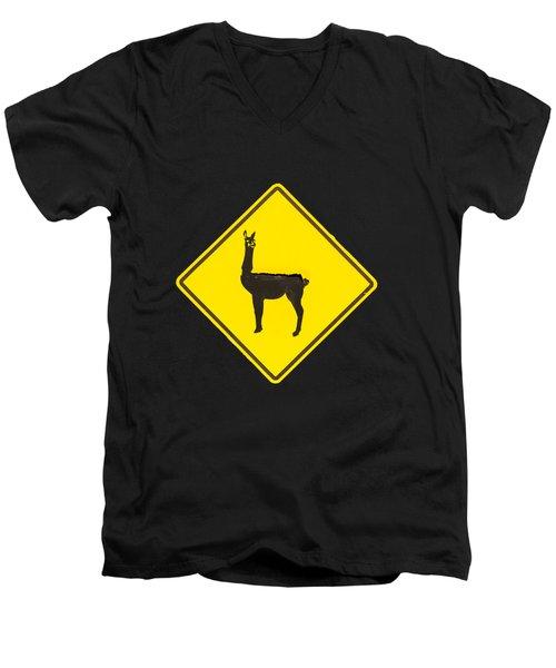 Warning Guanacos Men's V-Neck T-Shirt by Mirko Chianucci