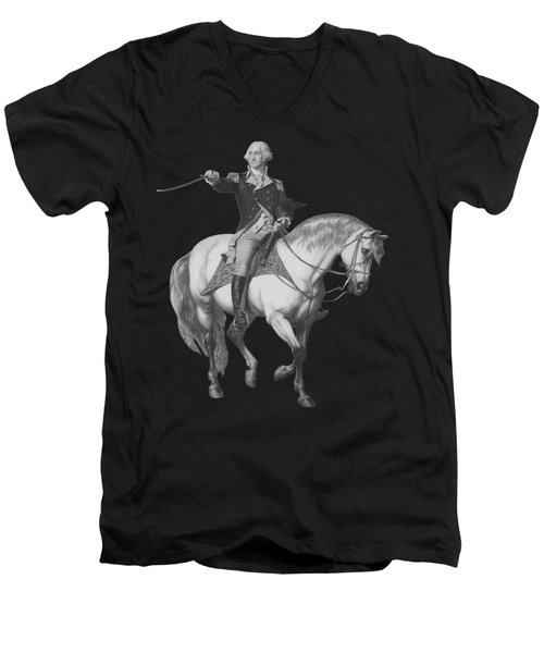 Washington Receiving A Salute At Trenton Men's V-Neck T-Shirt by War Is Hell Store