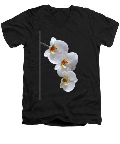 White Orchids On Black Vertical Men's V-Neck T-Shirt by Gill Billington