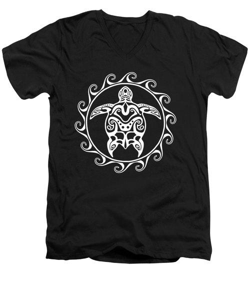 White Tribal Turtle Men's V-Neck T-Shirt by Chris MacDonald