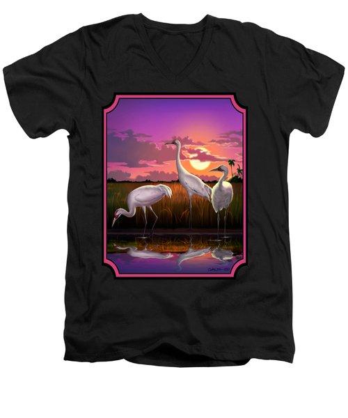 Whooping Cranes Tropical Florida Everglades Sunset Birds Landscape Scene Purple Pink Print Men's V-Neck T-Shirt by Walt Curlee