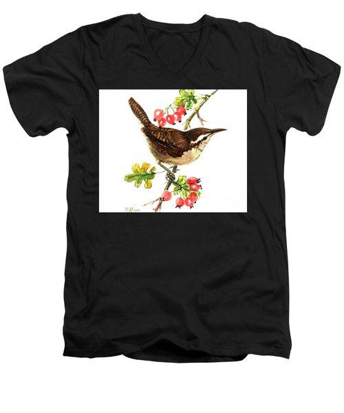 Wren And Rosehips Men's V-Neck T-Shirt by Nell Hill