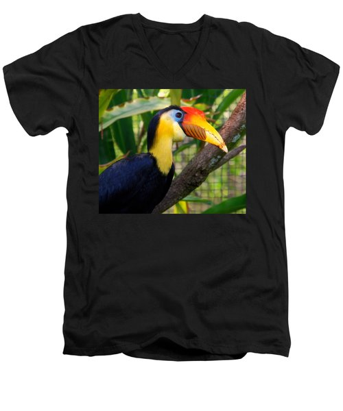 Wrinkled Hornbill Men's V-Neck T-Shirt by Susanne Van Hulst