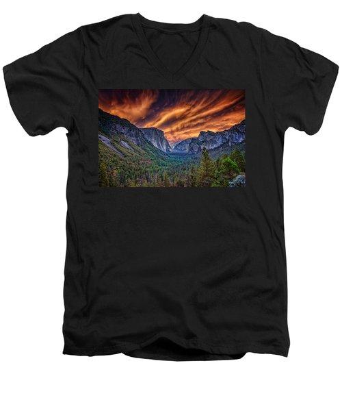 Yosemite Fire Men's V-Neck T-Shirt by Rick Berk