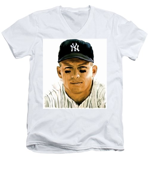 American Icon Mickey Mantle Men's V-Neck T-Shirt by Iconic Images Art Gallery David Pucciarelli