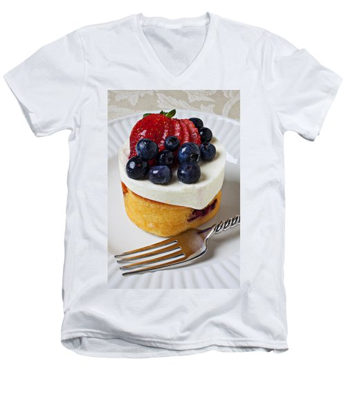 Cheese Cream Cake With Fruit Men's V-Neck T-Shirt by Garry Gay