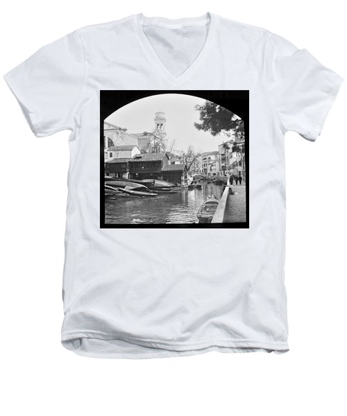 Men's V-Neck T-Shirt featuring the photograph Pegnitz River Nuremberg Germany 1903 by A Gurmankin