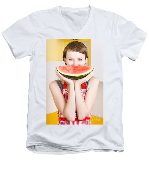 Funny Woman With Juicy Fruit Smile Men's V-Neck T-Shirt by Jorgo Photography - Wall Art Gallery