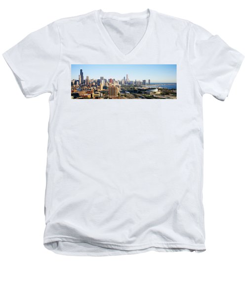 Chicago, Illinois, Usa Men's V-Neck T-Shirt by Panoramic Images