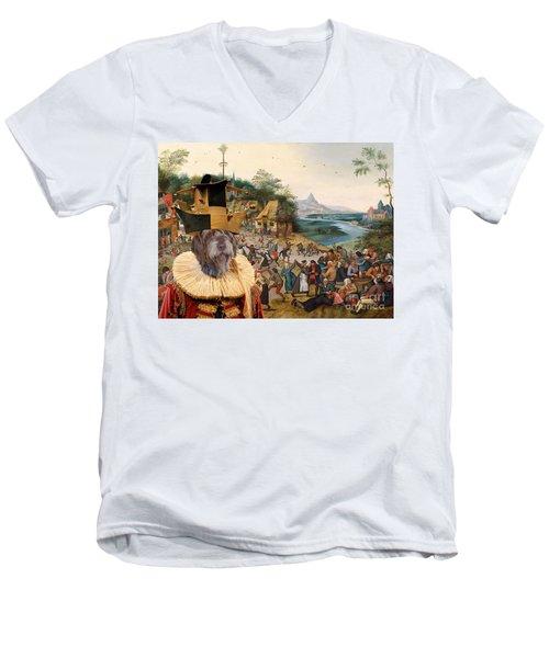 Korthals Pointing Griffon Art Canvas Print Men's V-Neck T-Shirt by Sandra Sij